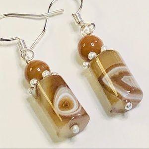 Light Brown & Cream Cylindrical Agate Earrings